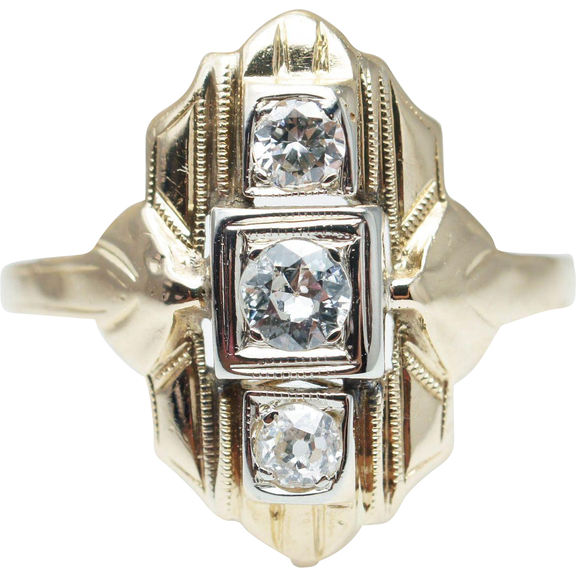 Art Deco Style Old European Cut Diamond Cocktail Ring 14k Yellow Gold