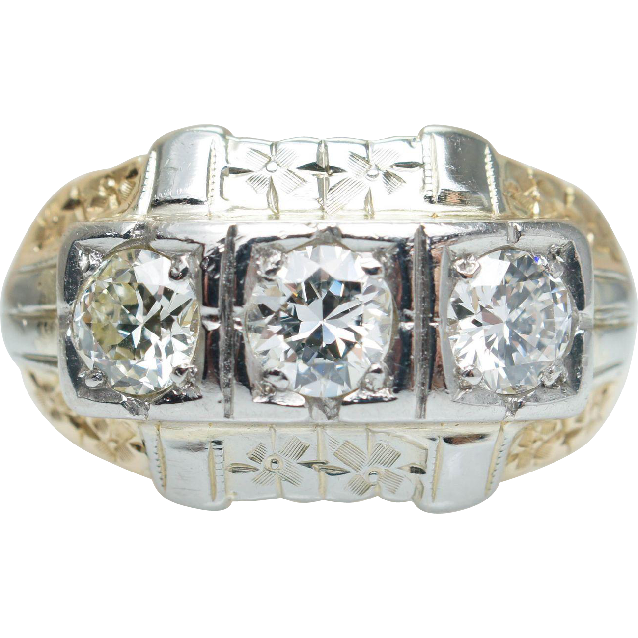 Vintage .77CT Diamond Cocktail Ring 14k Yellow & White Gold