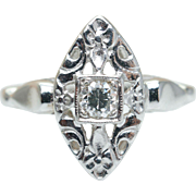 Vintage Art Deco 14K White Gold Diamond Engagement Ring