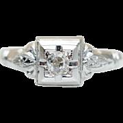 Vintage Late Edwardian Style Diamond Engagement Ring 18k White Gold