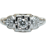 Art Deco Style Diamond Solitaire Engagement Ring 18k White Gold