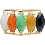 Colored Jade Open Cocktail Ring in 14k Yellow Gold