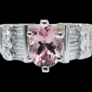 Vintage 2.76CTW Oval Morganite & Diamond Engagement Ring in 18k White Gold