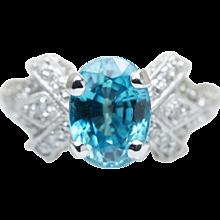 Vintage Oval Blue Zircon & Diamond Engagement Ring in 18k White Gold