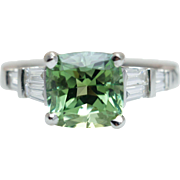 Vintage 4.01CT Cushion Cut Green Tourmaline Engagement Ring 18k White Gold Baguette Cut Diamond Accent