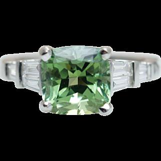 Vintage 4.01CT Cushion Cut Green Tourmaline Engagement Ring 18k White Gold Baguette Cut Diamond Accent