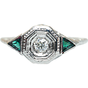 Vintage Edwardian Style 18K White Gold Natural Diamond & Emerald Ring