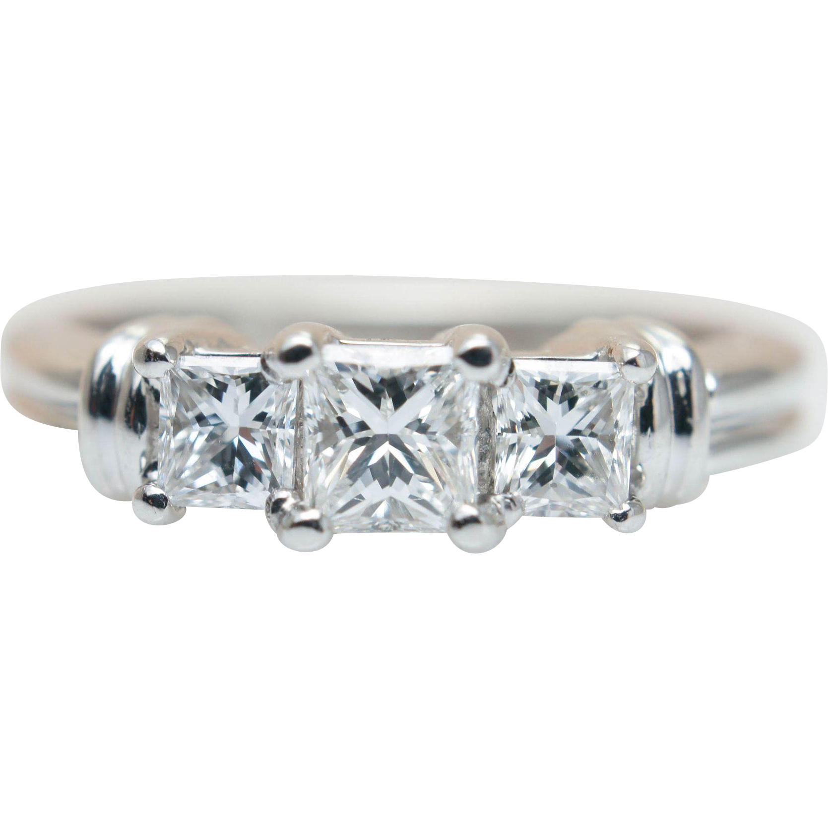 Three Stone Princess Cut Diamond Engagement Ring 14k White Gold