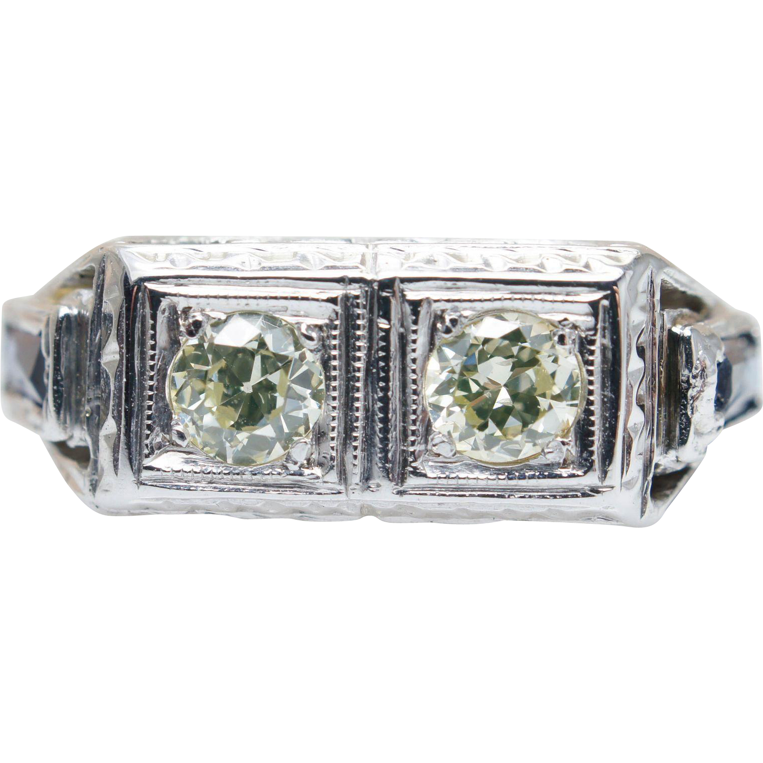Vintage Art Deco Diamond & Sapphire Accent Ring in 18k White Gold