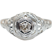 Late Edwardian Diamond Engagement Ring 18k White Gold