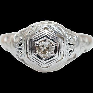 Late Edwardian Diamond Engagement Ring 18k White Gold