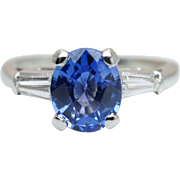 Vintage 1.86CTW Sapphire & Baguette Cut Diamond Platinum Engagement Ring