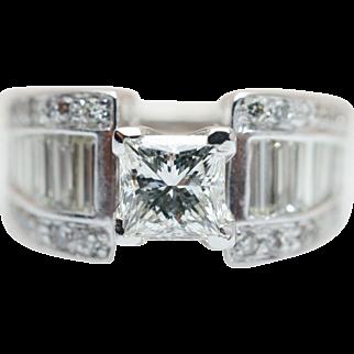Vintage 2.13CTW Natural Diamond Engagement Ring Wide Band Baguette Cut Accents