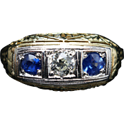 Late Edwardian Style Diamond & Sapphire Band Ring in 14k Yellow Gold Vintage Jewelry