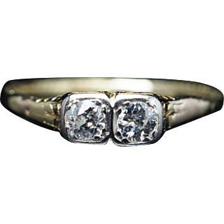 Vintage Edwardian Natural .25CTW Old European Cut Double Diamond Engagement Ring 14k Yellow Gold