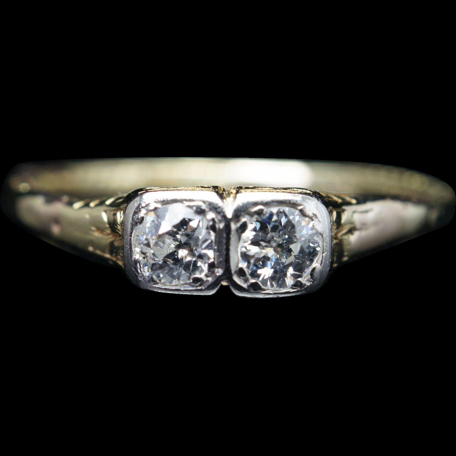 Vintage Edwardian Natural .25CTW Old European Cut Double Diamond Engagement Ring 14k Yellow Gold