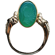 Vintage Oval Chrysoprase Flip Two Face Cocktail Ring in 14k Yellow Gold