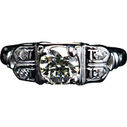 Vintage .47CT Diamond Engagement Ring in 14k White Gold