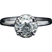 Vintage Solitaire .50CT Natural Diamond Engagement Ring 14k White Gold Wedding Ring