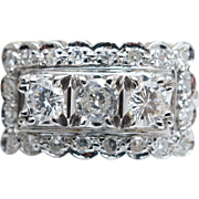 1940s Retro 1.3CTW Diamond Cocktail Ring 14k White Gold Mid Century Statement Jewelry