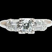 Vintage Art Deco .39CTW Old European Cut Diamond Engagement Ring in Platinum