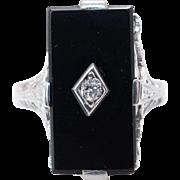 Vintage Art Deco Diamond & Onyx Ring 18k White Gold