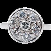 Vintage Art Deco .75CTW Diamond 7 Stone Flower Cluster Ring 14k White Gold