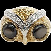 Vintage Black Star Sapphire & Diamond Owl Cocktail Ring in 14k Yellow & White Gold
