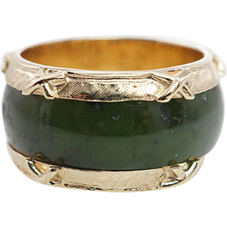 Vintage Nephrite Jade Band Ring in 14k Yellow Gold