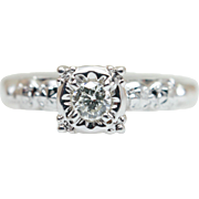 Vintage 1940's Illusion Set Diamond Solitaire Engagement Ring in 14k White Gold