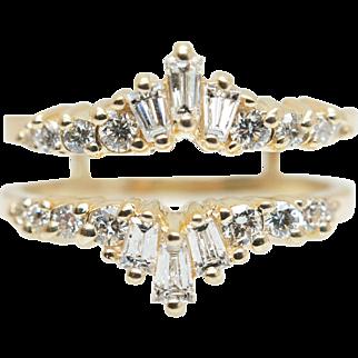 Vintage .68CTW Natural Baguette Cut Diamond Wedding Ring Guard