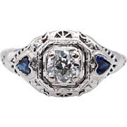 Vintage .65CTW Sapphire & Diamond Late Edwardian Engagement Ring 18k White Gold