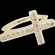 Christian .20CTW Natural Diamond Cross Ring in 14k Yellow Gold