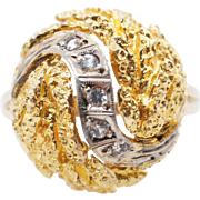 Vintage Synthetic Spinel Textured Dome Ring 14k Yellow Gold