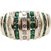 Vintage 1.56CTW Natural Diamond & Emerald Cocktail Ring 14k Yellow Gold