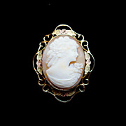 Edwardian Style Conch Shell Cameo Brooch Pendant