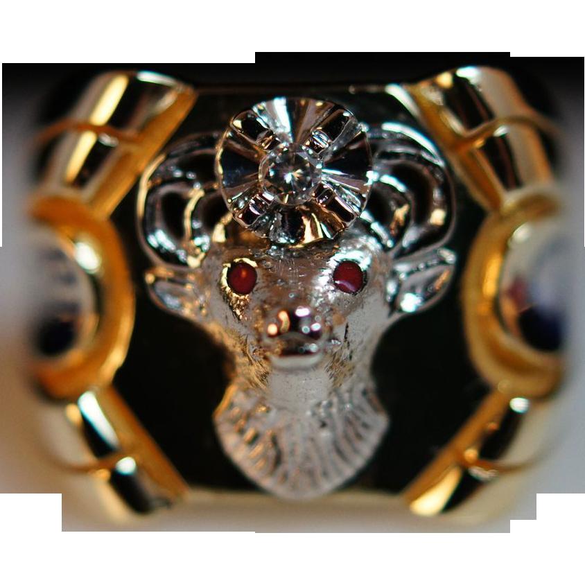Mens Diamond & Enamel Elks Ring - Size 9 - Elks Lodge