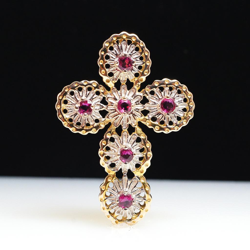 Vintage 14k Yellow & White Gold Ruby Cross Pendant