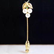 Vintage 14k Yellow Gold Emerald and Cultured Pearl Floral Pin