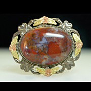 1930's Sterling Silver Agate Brooch Pin