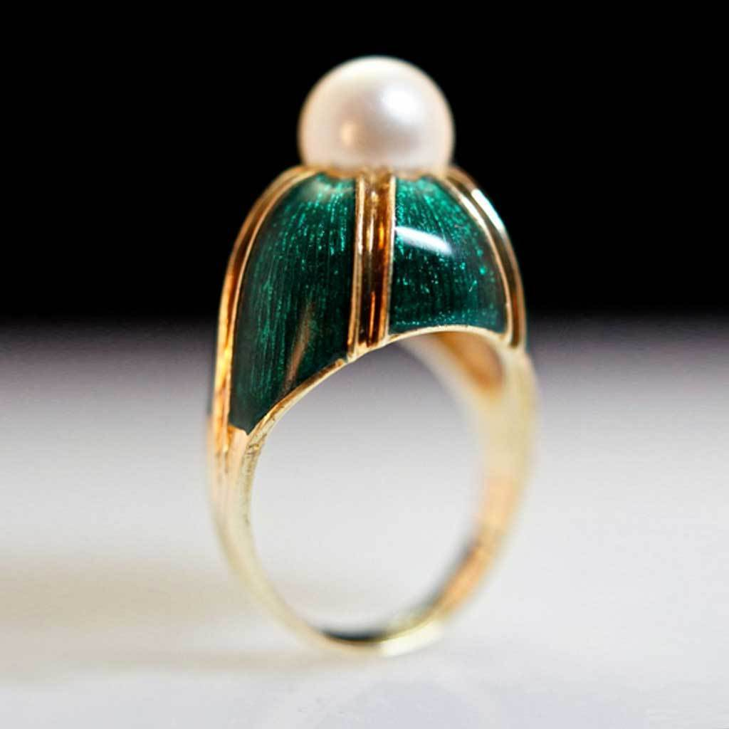 Vintage - 14K Yellow Gold Cast Cultured Pearl & Enamel Ring