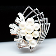 Retro Pearl Navette & Wangle Floral Brooch 950 Sterling Silver