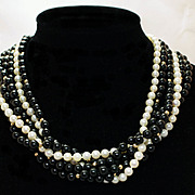 Vintage Pearl & Onyx MultiStrand Necklace - 15 inches long.