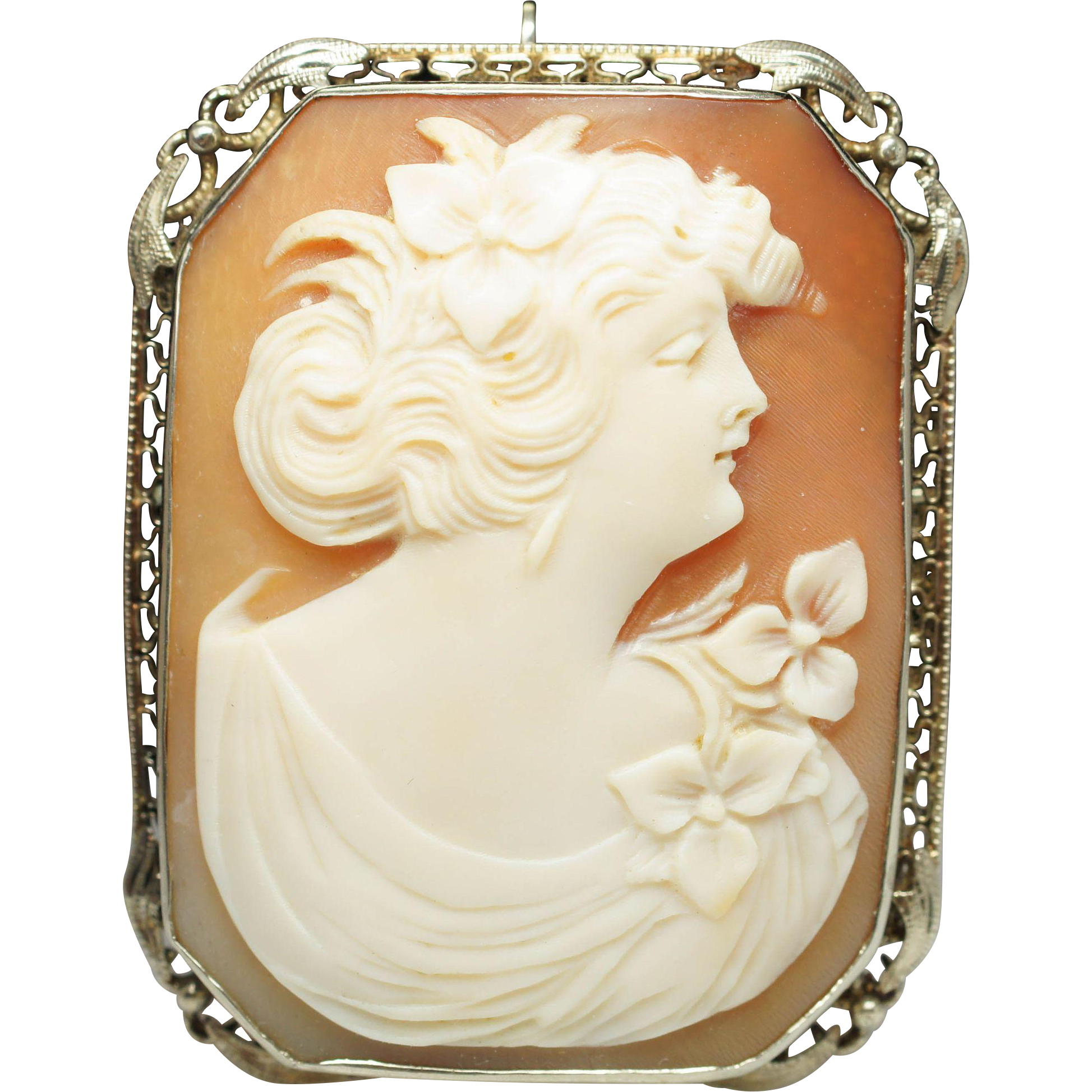 Vintage Shell Cameo Brooch Pin in 14k White Gold