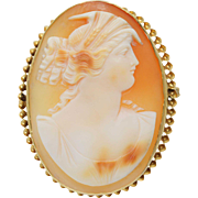 Antique Victorian Helmut Shell Cameo Brooch 10k to 18k Yellow Gold Dexter View