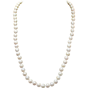 "Vintage Cream Pearl Necklace Long Strung Pearls 18"" Simple Elegant Pearls"