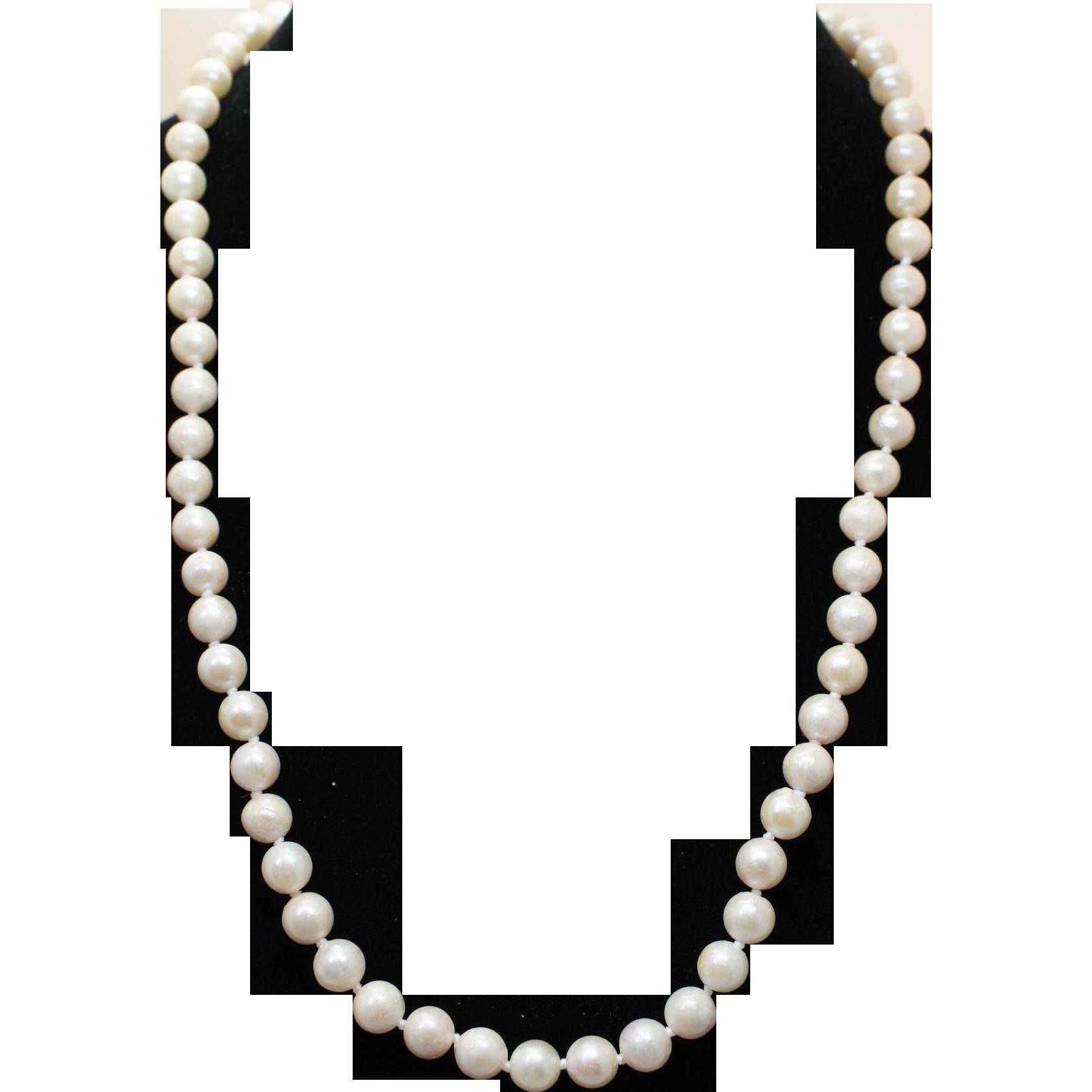 "Vintage Cream Pearl Necklace Long Strung Pearls 18"" Simple Elegant Pearls"