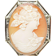 Vintage Helmut Shell Cameo Pin Brooch in 10k Yellow Gold