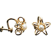 Vintage Pearl Star Gold Filled Clip On Earrings 14k Yellow Gold
