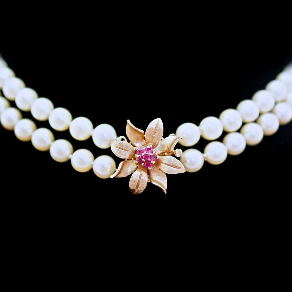 Vintage Cultured Pearl Necklace - 14K Yellow Gold with Ruby Fancy Clasp
